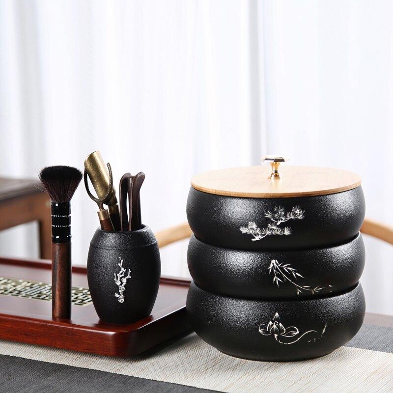 遠舍帶蓋茶洗大號陶瓷水洗家用日式禪意黑陶杯洗茶渣缸茶道零配件