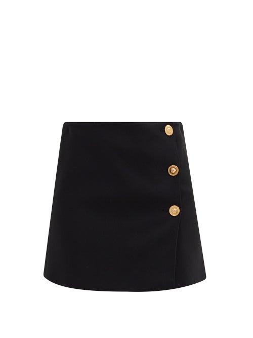 Versace - A-line Medusa-button Crepe Mini Skirt - Womens - Black