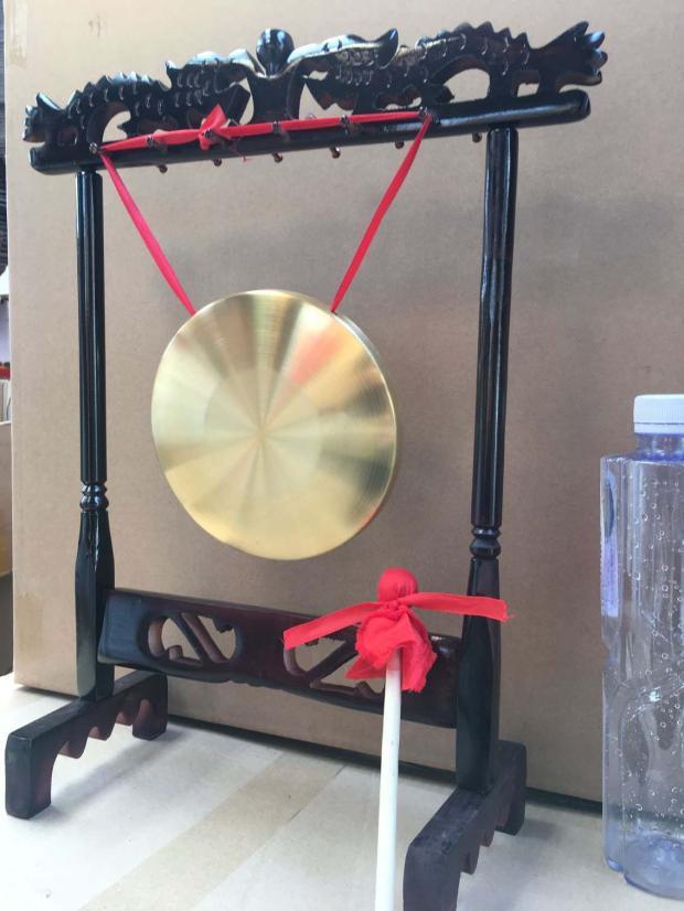 開業銅鑼 帶架子銅鑼 風水銅鑼家具 擺設銅鑼 招財銅鑼