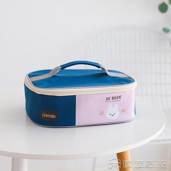 便當包丨日式大容量飯盒手提包卡通學生飯盤便當包扁平加厚帆布上班帶飯包 【母親節特惠】