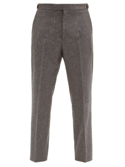 Gucci - Mushroom-embroidered Wool Trousers - Mens - Grey