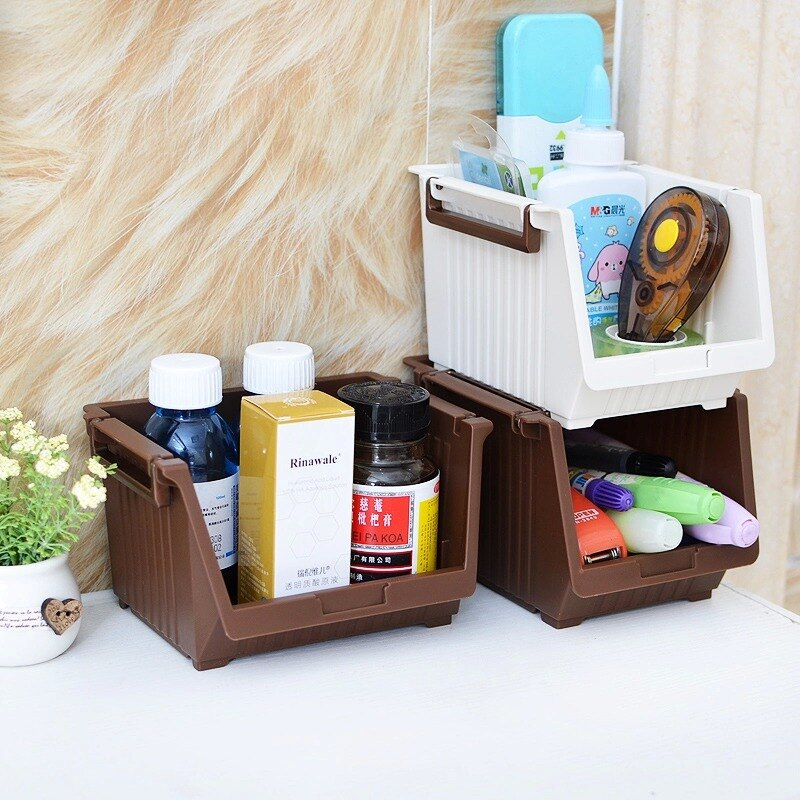 創意迷你可疊加辦公桌面鑰匙收納盒簡約歐式護膚化妝品儲物架