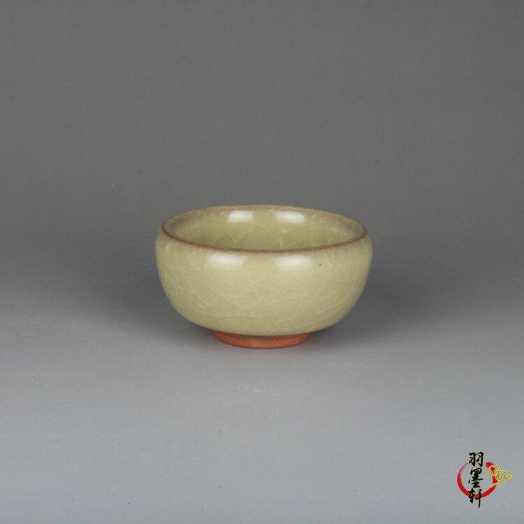仿古宋哥窯裂紋米黃釉小茶杯古玩古董陶瓷器收藏品手工擺件