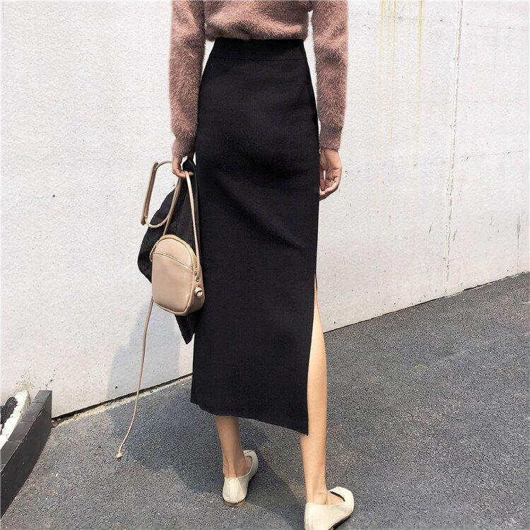 高腰開叉一片式包臀裙中長款ins超火的半身裙女春秋針織a字裙