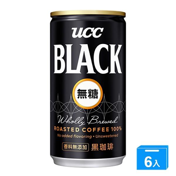 UCC無糖黑咖啡184ml*6罐【愛買】