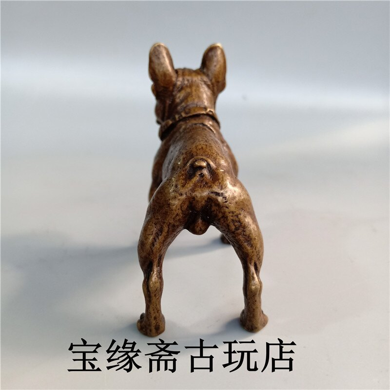 純銅實心黃銅旺財狼狗沙皮犬小擺件黃銅牧童牛小擺件茶道銅寵擺件