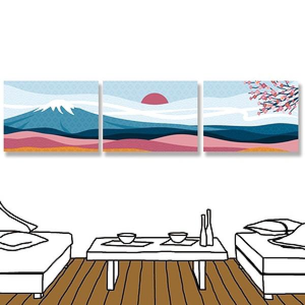 【24mama掛畫】三聯式油畫布無框畫 40x30cm-富士山與櫻花樹油畫布無時鐘