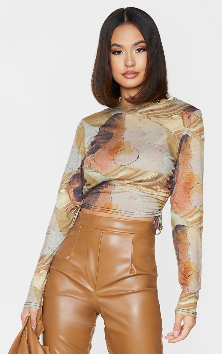 Beige Abstract Print Jersey Ruched Side Long Sleeve Crop Top