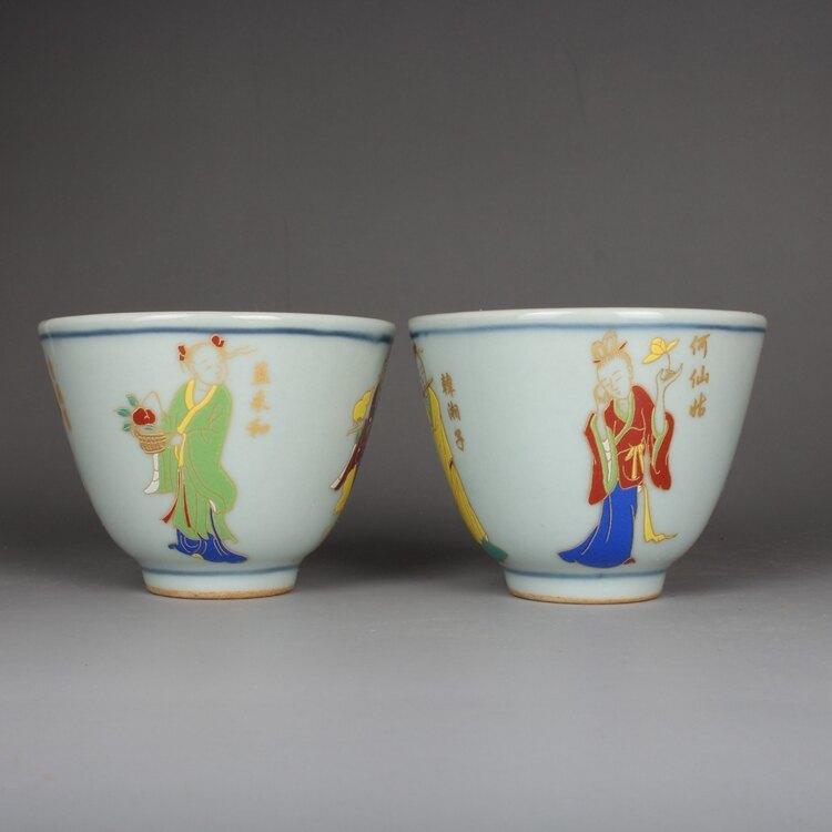 晚清民窯粉彩八仙人物茶杯一對 景德鎮古玩古董仿古陶瓷器收藏品
