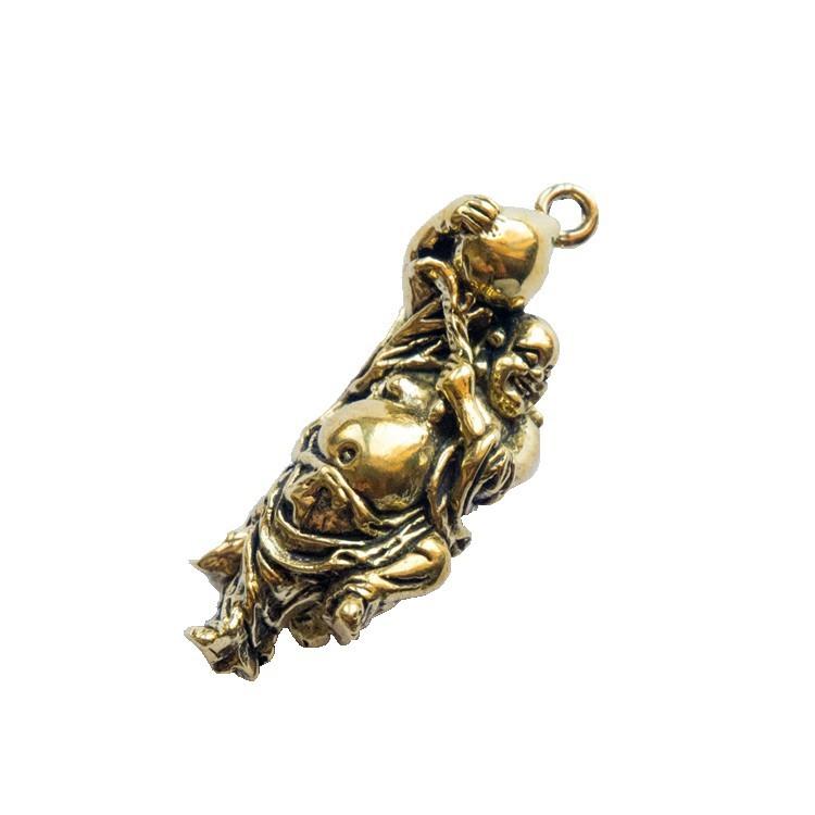 復古創意純銅黃銅彌勒佛鑰匙扣男女汽車鑰匙扣掛件吊墜配件小禮品1入 -