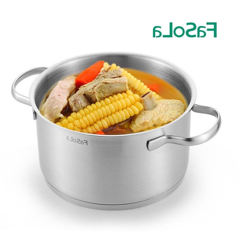 家用24cm雙耳304不銹鋼熬湯鍋燃氣鍋具電磁爐適用燒湯鍋燉鍋