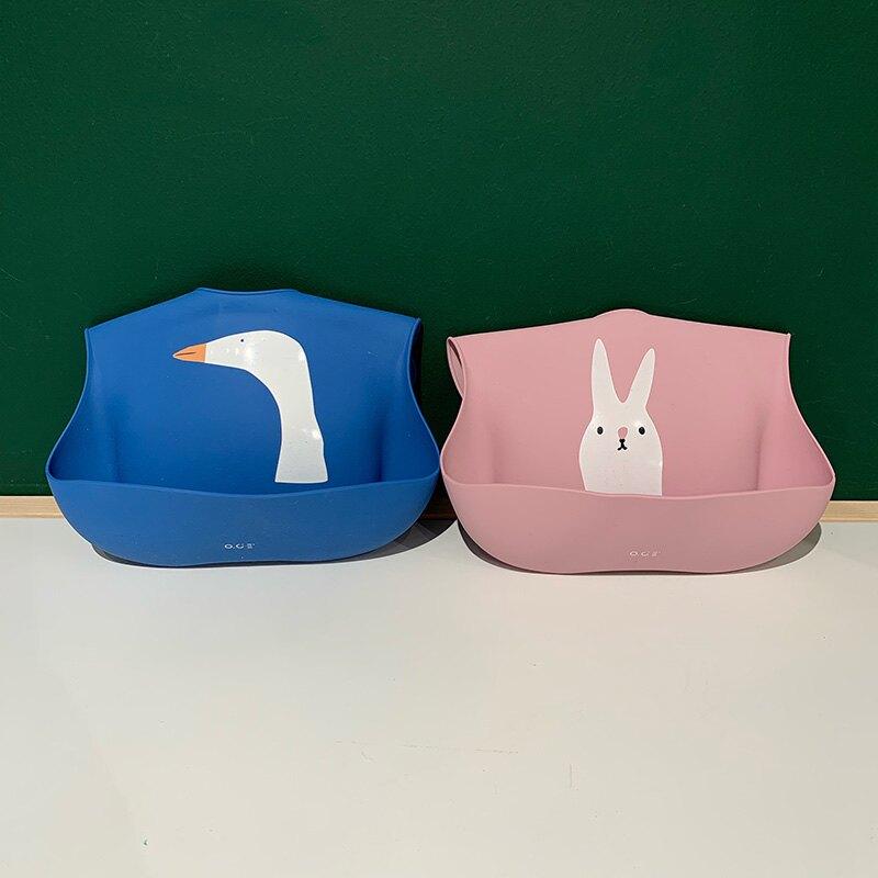 SwanLace精選專柜款嬰兒兒童柔軟喂飯兜圍兜卡通兔子硅膠防水圍嘴