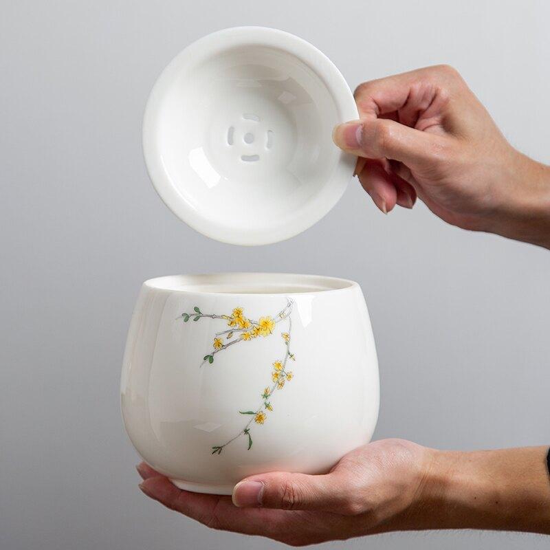 遠舍茶渣缸羊脂玉瓷建水茶缽禪意水孟茶洗水洗特大號杯洗陶瓷帶蓋