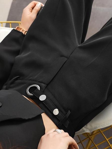 西裝褲 女直筒秋冬寬鬆高腰顯瘦垂感九分休閒百搭加絨哈倫煙管褲子 阿宅便利店