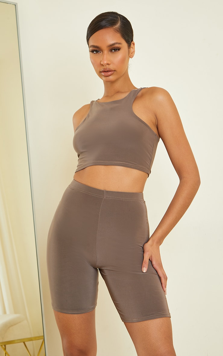 Slate Slinky Racer Neck Crop Top