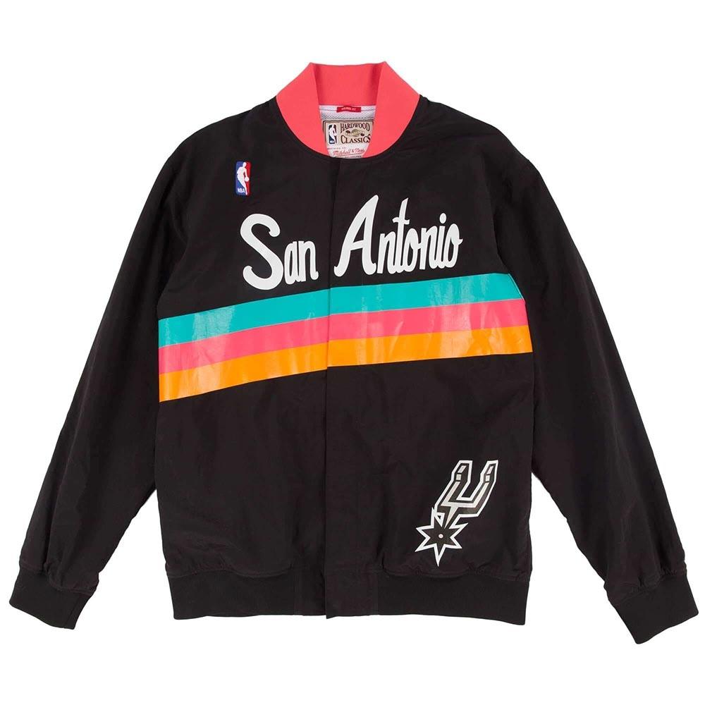 M&N NBA復古熱身外套 馬刺隊 黑色