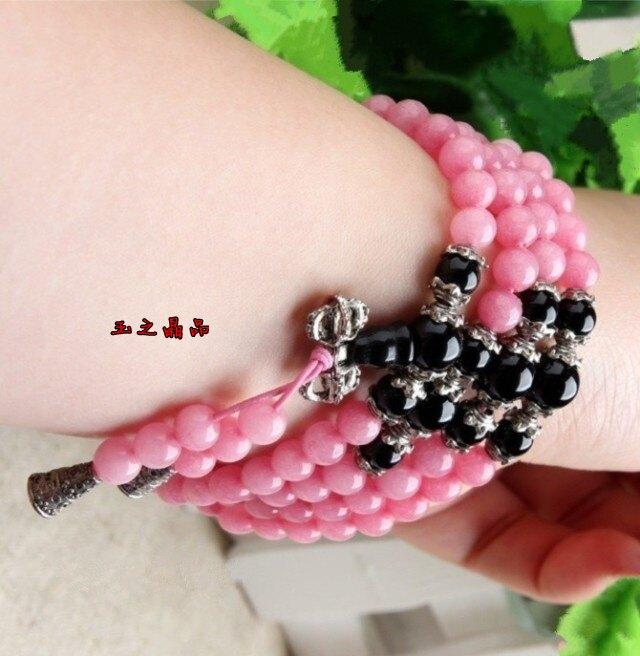 粉紅108顆玉髓配黑瑪瑙手鏈 手串念珠 繞手多圈多層