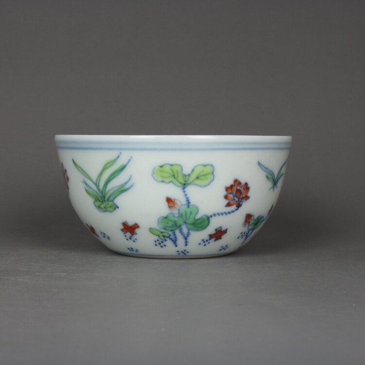大明成化青花斗彩手繪荷花紋茶杯 古玩古董陶瓷器仿古老貨收藏品
