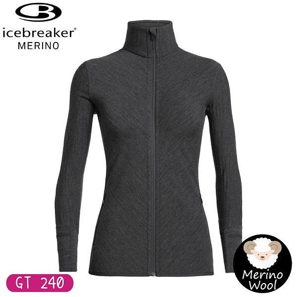 【Icebreaker 女 DESCENDER 刷毛保暖外套 GT240《深灰》】103900/保暖羊毛夾克/薄外套