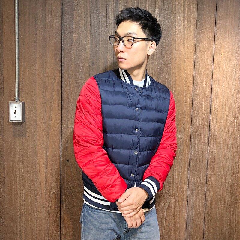 美國百分百【全新真品】 Tommy Hilfiger 鋪棉外套 TH 飛行夾克 保暖防風 拼色深藍紅 S M號 AT27