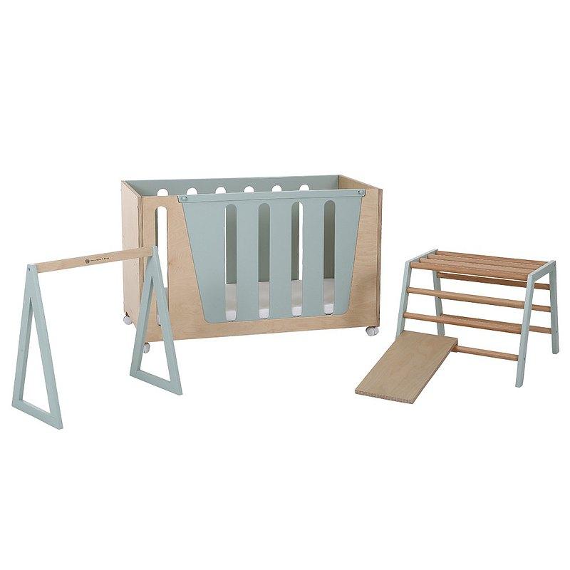 Woodpecker B 多功能成長床+感統組合│薄荷綠