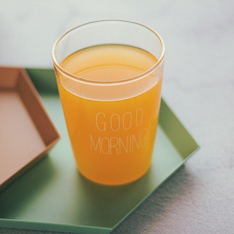 48號雜貨鋪 日本ins同款goodmorning早安耐熱玻璃杯 牛奶杯果汁杯