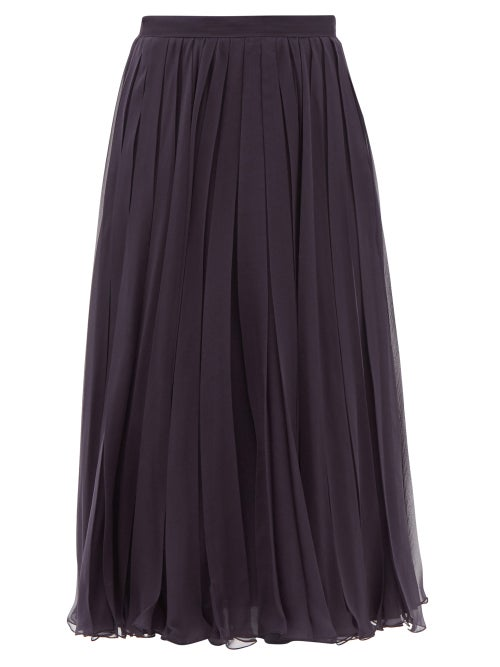 Valentino - Pleated Silk-chiffon Midi Skirt - Womens - Navy