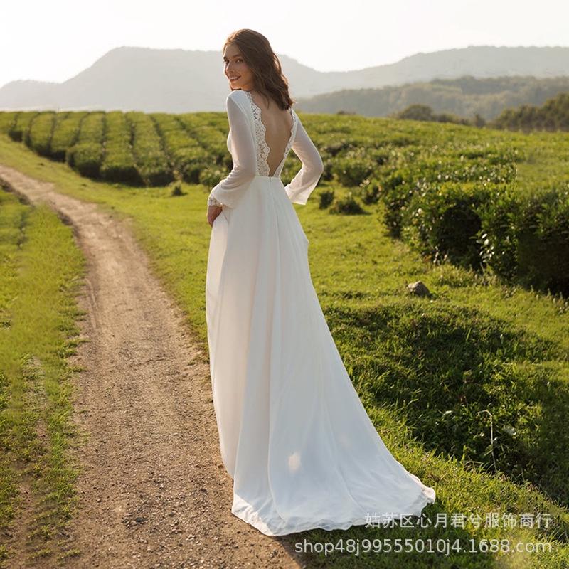 露背❤美膩❤一字領輕婚紗簡約森系新款長袖法式拖尾新娘合身顯瘦雪紡露背長袖戶外婚禮旅行結婚結婚拍照婚紗文定