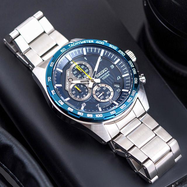 【SEIKO 精工】CS系列 霸氣強悍三眼計時不鏽鋼腕錶/銀x藍面(SSB321P1_M)