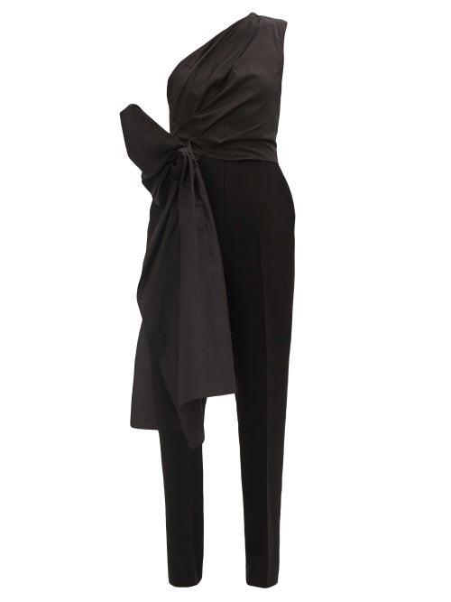 Roksanda - Lea One-shoulder Bow Cady Jumpsuit - Womens - Black