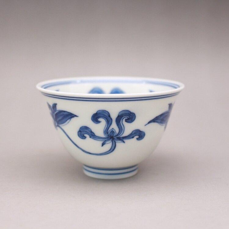 明成化年制青花寶蓮花紋茶杯主人杯古玩古董陶瓷器仿古老貨收藏品