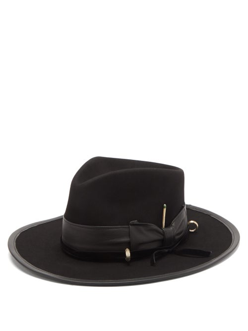Nick Fouquet - Louise Leather-trimmed Felt Fedora Hat - Mens - Black