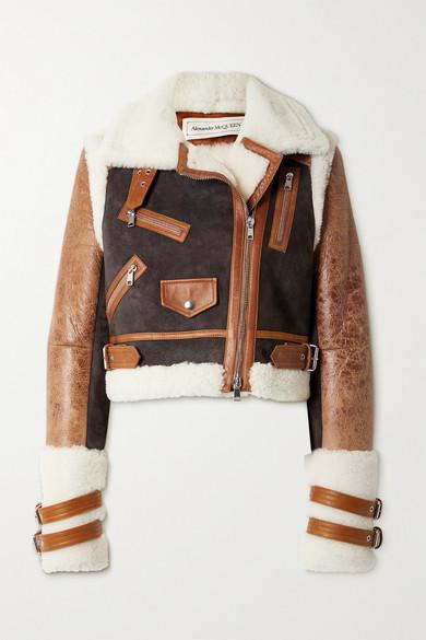 Alexander McQueen - 羊毛皮绒面革纹理皮革短款夹克 - 棕色 - IT40