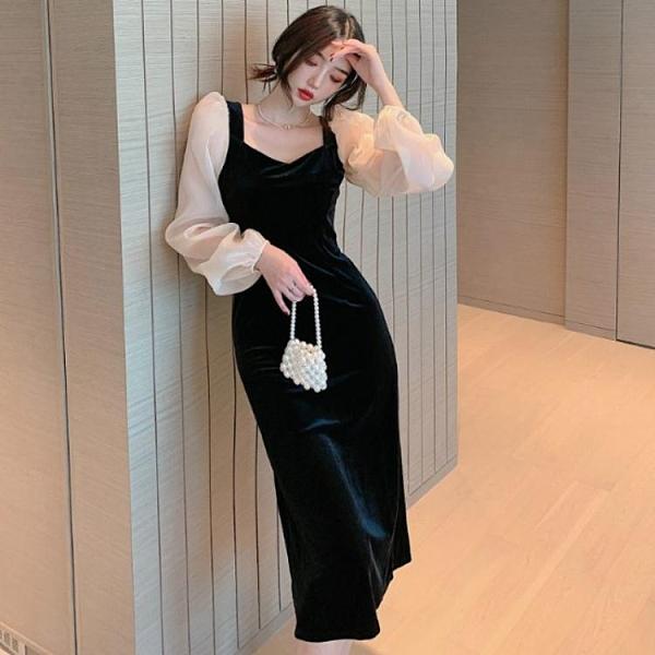長款洋裝 連身裙氣質2021年新款秋冬季修身顯瘦中長款性感金絲絨黑色裙子女  伊蘿