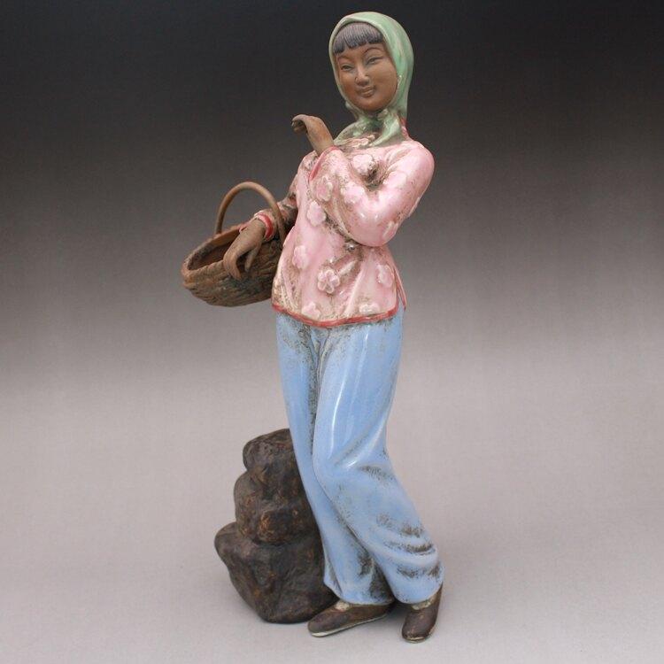 文革瓷器景德鎮雕塑瓷廠 采茶女雕塑像 古玩古董老廠貨陶瓷器收藏