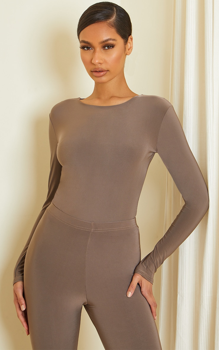 Slate Slinky Crew Neck Long Sleeve Bodysuit
