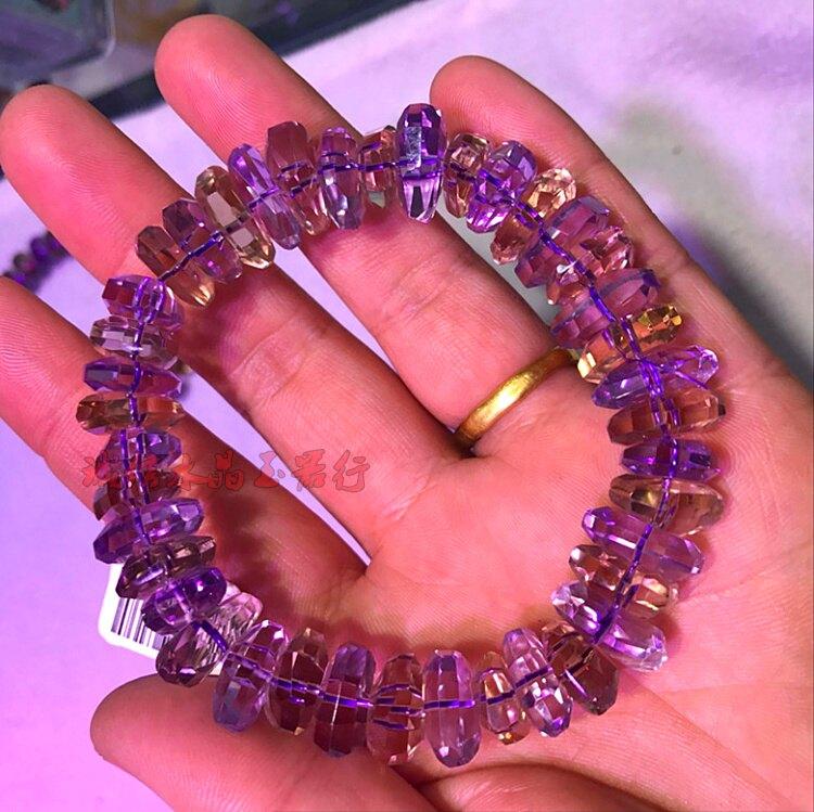 天然巴西紫黃晶刻面手鏈 隨型紫黃水晶女款女友生日禮物