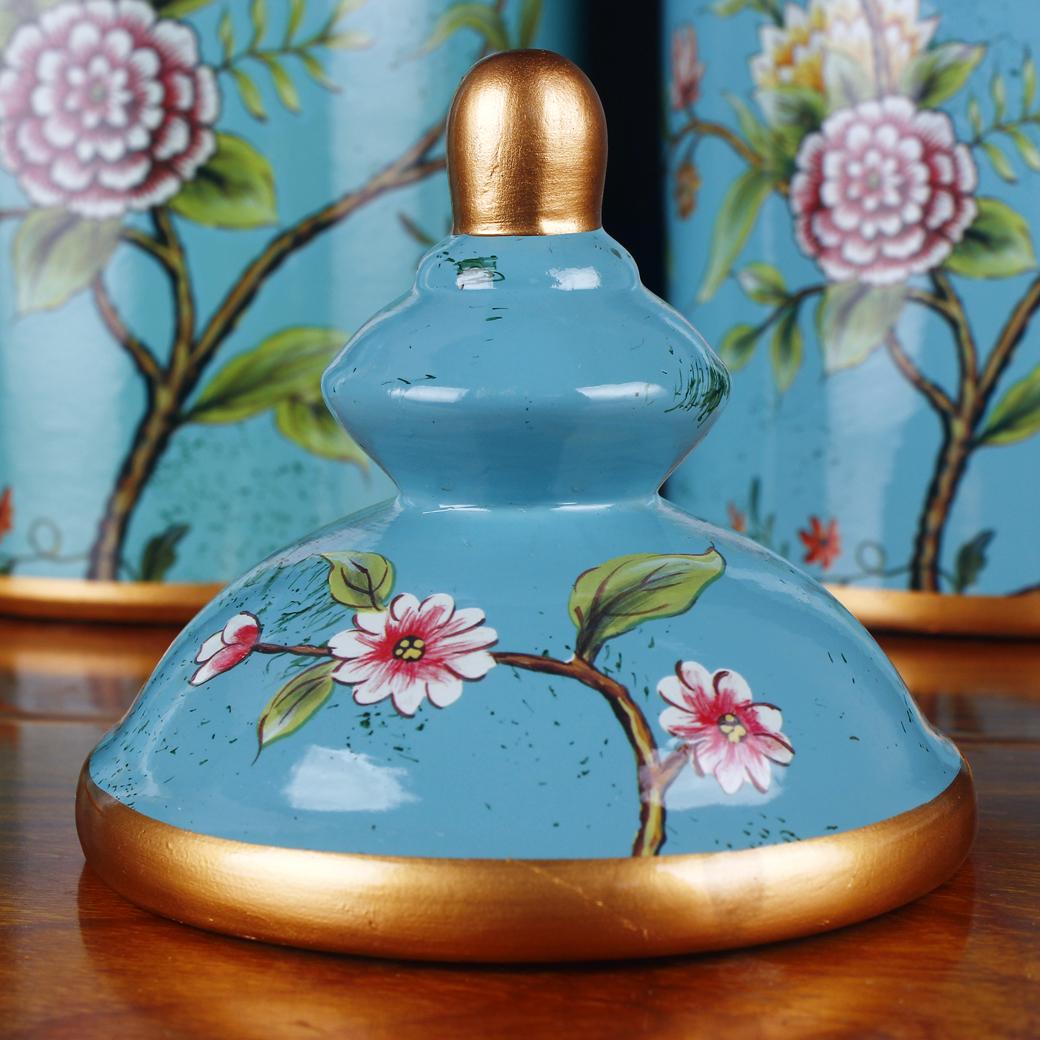 美式鄉村工藝品手繪古典花鳥陶瓷罐 家居裝飾品樣板房擺件