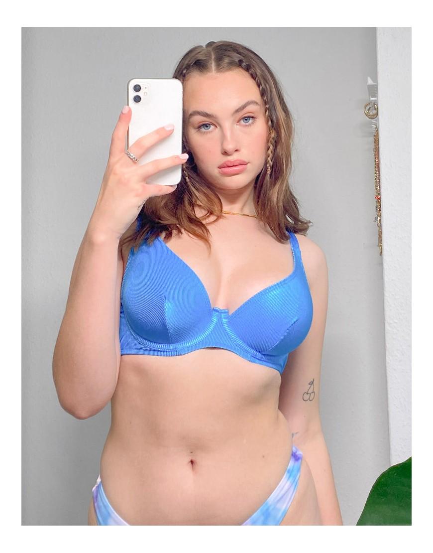 ASOS DESIGN fuller bust mix and match mirror satin rib step front underwire bikini top in cobalt blu