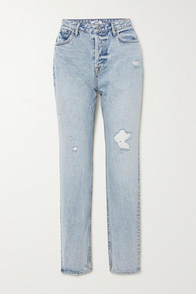 GRLFRND - Devon 仿旧高腰直筒牛仔裤 - 浅牛仔蓝 - 31