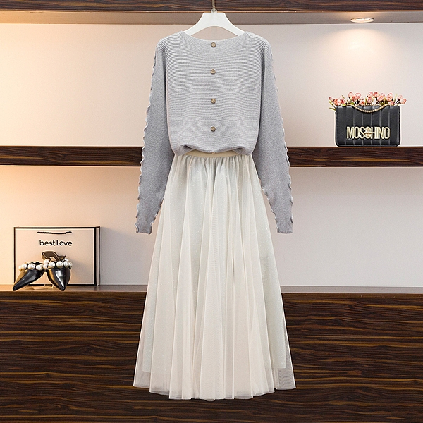 單上衣蝙蝠袖針織毛衣小心機上衣亮閃網紗裙套裝S219-B.6058 1號公館