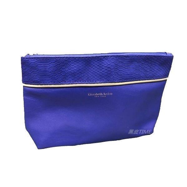 ELIZABETH ARDEN 雅頓 藍色化妝包 黑皮TIME 62793