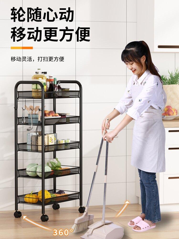 帶輪置物架 廚房置物架落地臥室帶輪多層零食可移動蔬菜籃子小推車儲物收納架【MJ1523】