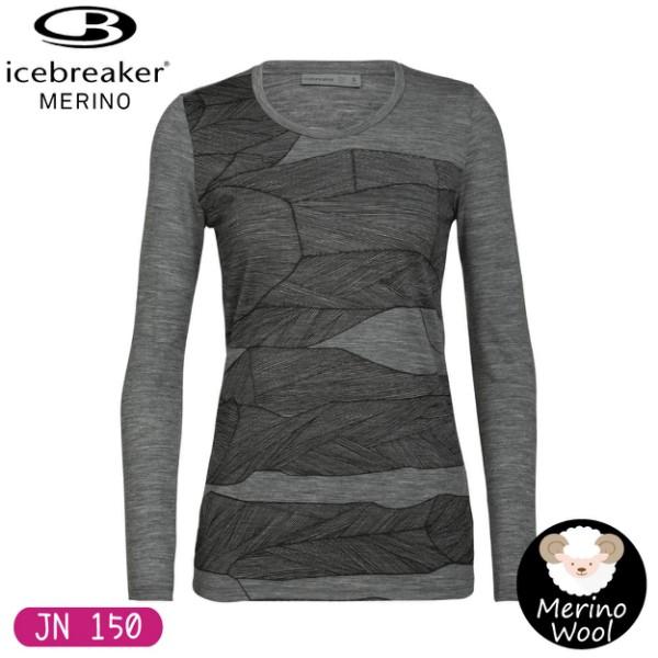 【Icebreaker 女 Tech Lite圓領長袖上衣 JN150熔岩堆疊《灰》】105146/保暖羊毛衫/悠遊山水