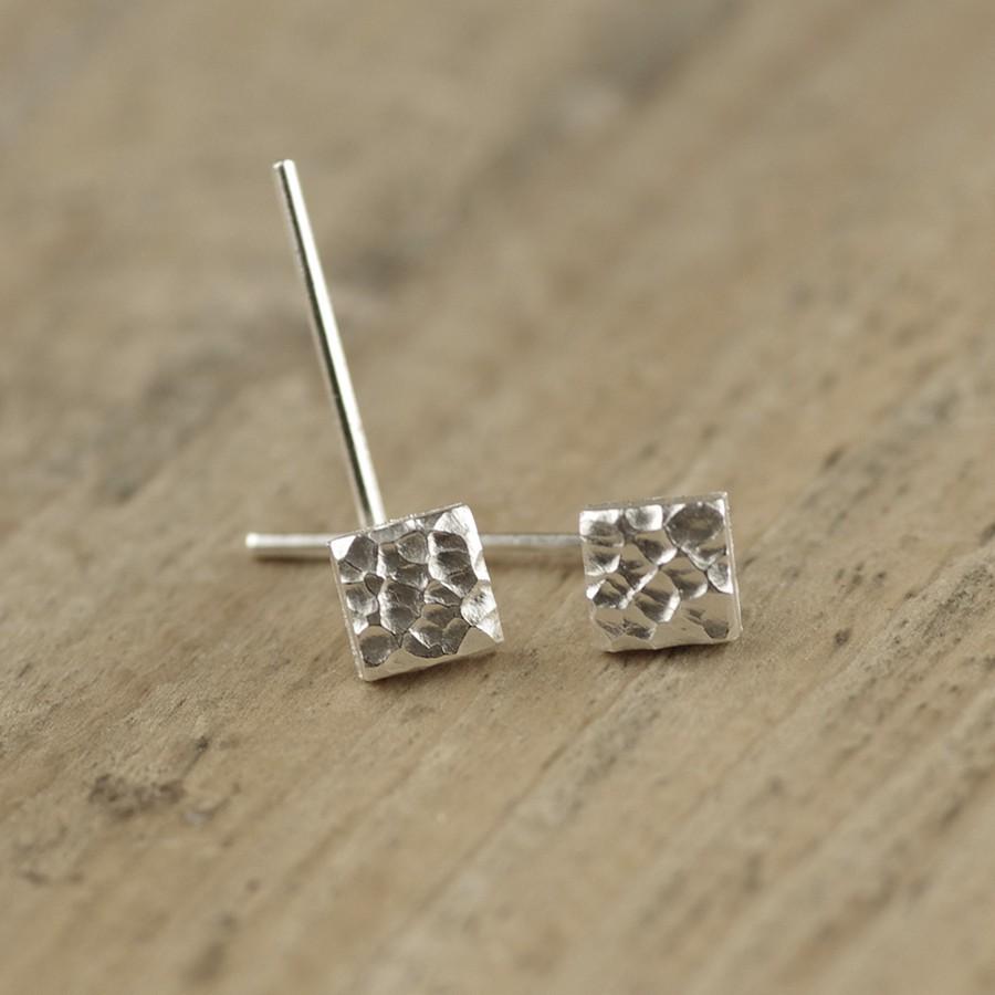 手工耳釘原創素素的雪花巖石紋理凹凸不規則獨特純銀男女百搭特色1入 -