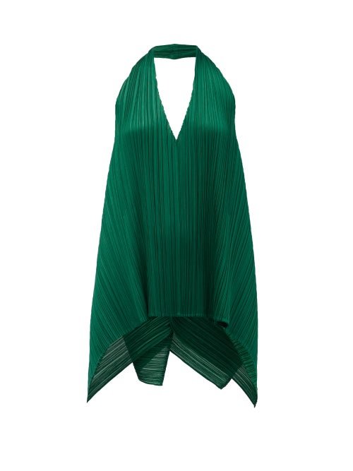 Pleats Please Issey Miyake - Halterneck Technical-pleated Top - Womens - Dark Green