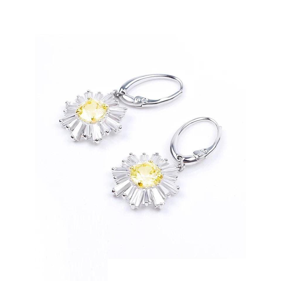 【限時特賣】專櫃正品 Swarovski 施華洛世奇 太陽花黃鑽黃水晶耳釘耳環