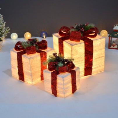 聖誕樹裝飾品 聖誕禮盒套裝 發光 鐵藝禮物盒 櫥窗場景 裝潢佈置