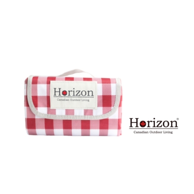 【Horizon 天際線】網美格紋款輕便防潮野餐墊-巴洛克紅白格 (加大尺寸200x200cm)