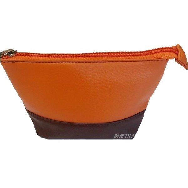 CLARINS 克蘭詩 橘咖啡色撞色化妝包 黑皮TIME 24753